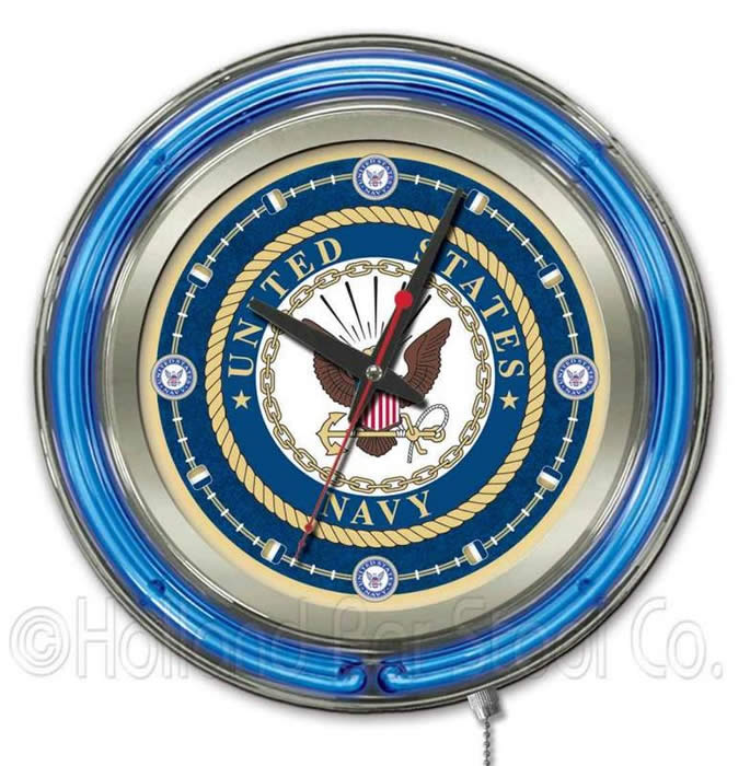 United States Navy Logo Neon Wall Clock