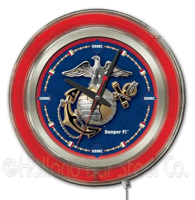 United States Military Neon Wall Clocks