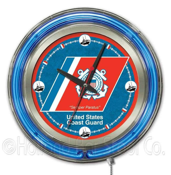 United States Coast Guard Logo Neon Wall Clock